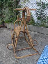 Load image into Gallery viewer, Vintage Franco Albini MCM Wicker and Bamboo Rocking Horse