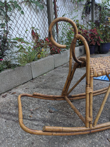 Vintage Franco Albini MCM Wicker and Bamboo Rocking Horse