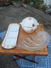 "Load image into Gallery viewer, Vintage Mikasa Clearwater 19"" Glass Hostess Serving Patter Tray wave shell nautilus"