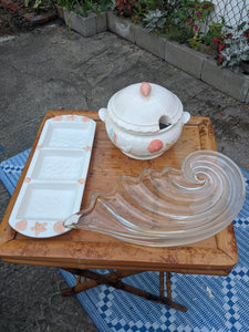 "Vintage Mikasa Clearwater 19"" Glass Hostess Serving Patter Tray wave shell nautilus"