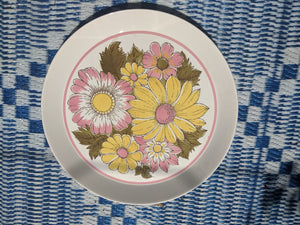 Mikasa duplex By Ben Seibel Round serving platter plate pattern 2522 pink yellow flowers