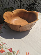 Load image into Gallery viewer, Vintage Tulip Petal Shaped Teak Shaped Serving Dish Bowl