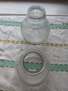 Two (2) Ceiling fan lamp glass replacement covers slear striped line glass