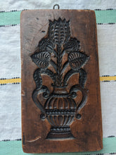 Load image into Gallery viewer, Carved brown wax wall hanging, floral vase design
