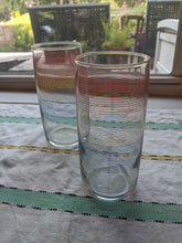 Load image into Gallery viewer, Set of two (2) Vintage 80'rainbow drinking glasses