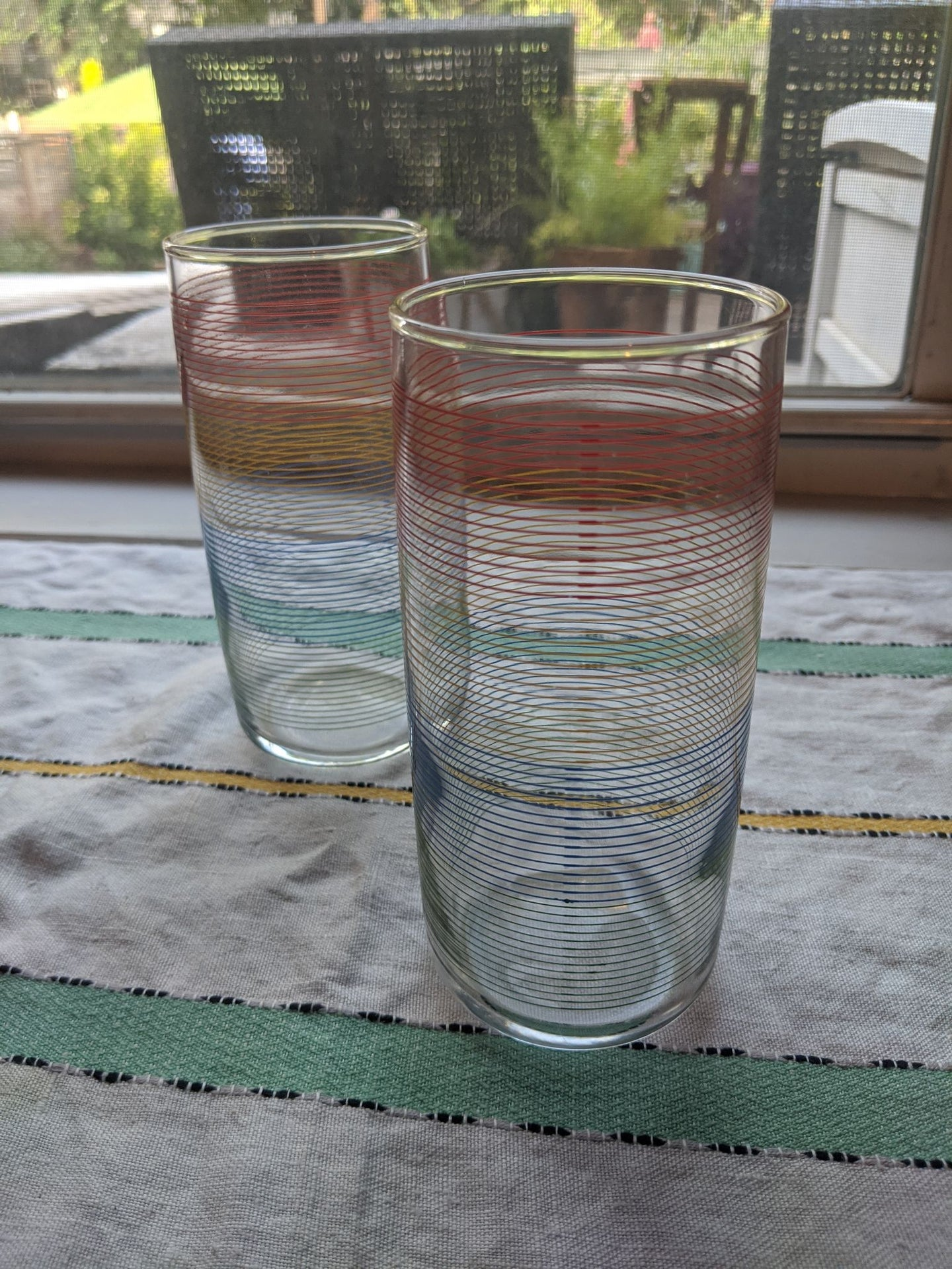 Set of two (2) Vintage 80'rainbow drinking glasses