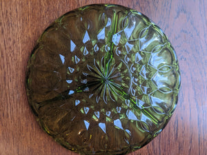 Indiana Glass Avocado Green colony park lane style serving plate with 3 sections
