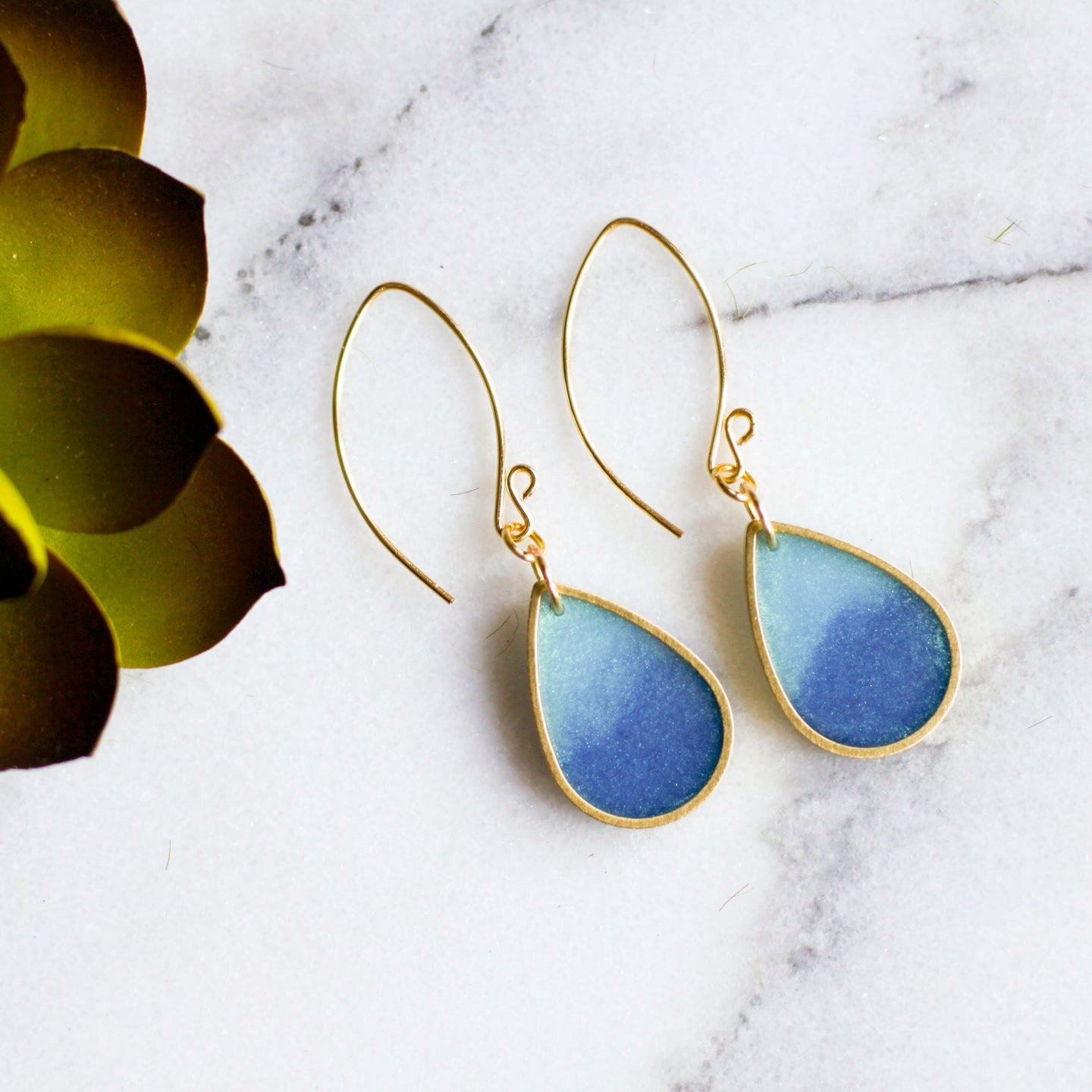 Turquoise Brass Raindrops