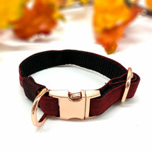 Load image into Gallery viewer, Burgundy denim dog collar with rose gold hardware