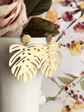 Load image into Gallery viewer, Monstera Earrings - brushed brass finish