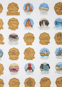 US National Parks Logo Scratch Poster (Gold)