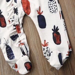 Infant Baby Pineapple Long Sleeve Romper Headband Set