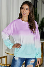 Load image into Gallery viewer, Purple Color Block Ombre Tie Dye Sweatshirt