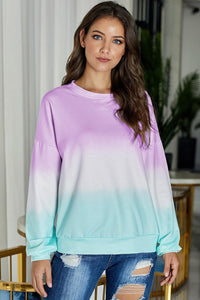 Purple Color Block Ombre Tie Dye Sweatshirt