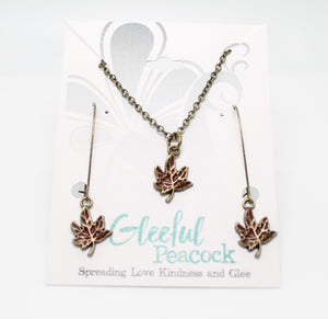 Maple Leaf Earring/Necklace Gift Set