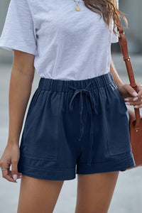 Navy Blue Strive Pocketed Tencel Shorts