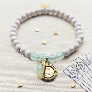 """MERMAID PRINCESS"" SWAROVSKI & WHITE WOOD LOCKET BRACELET"