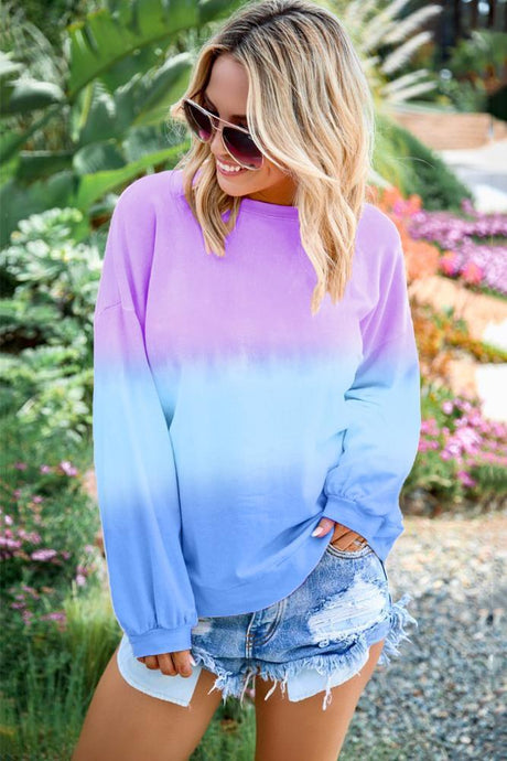 Purple Blue Color Block Tie Dye Pullover Sweatshirt