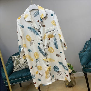 Pineapple Print Night Dress Women Summer
