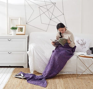 Handmade Soft Knitted Mermaid Tail Blanket