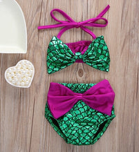 Load image into Gallery viewer, Toddler & Baby Girls Mermaid Bikini Set with Bowknot Headband
