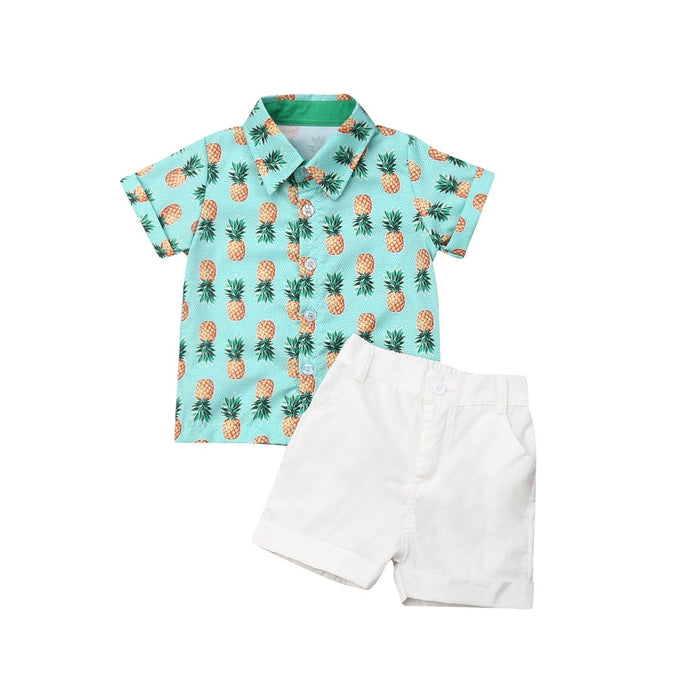 Pineapple Print Button-up Shirt for Boys with White Shorts