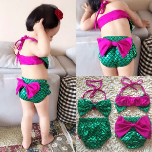 Toddler Kids Baby Girls Mermaid Bikini Set Bowknot