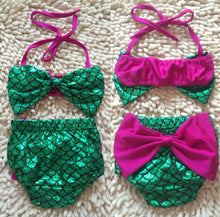 Load image into Gallery viewer, Toddler Kids Baby Girls Mermaid Bikini Set Bowknot