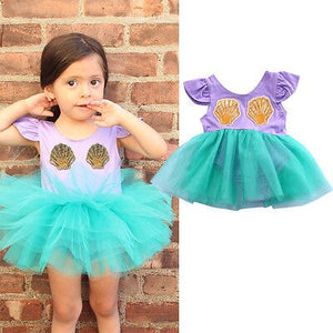 Princess Mermaid Bodysuit with Seashells for Newborn & Baby Girls