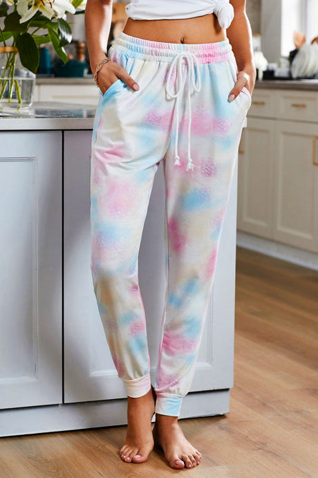 Multicolor Tie Dye Drawstring Jogger Pants