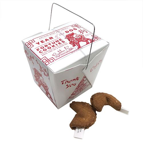 Dog Fortune Cookies in Takeout Box