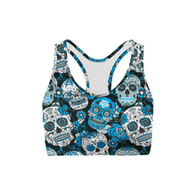 Load image into Gallery viewer, Blue Sugar Skulls Sports Bra