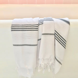 Classic Black Stripe Turkish Towel