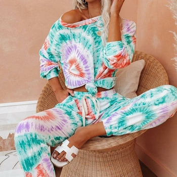 Slouchy Tie-dye Printed Long Sleeve Tracksuit Set