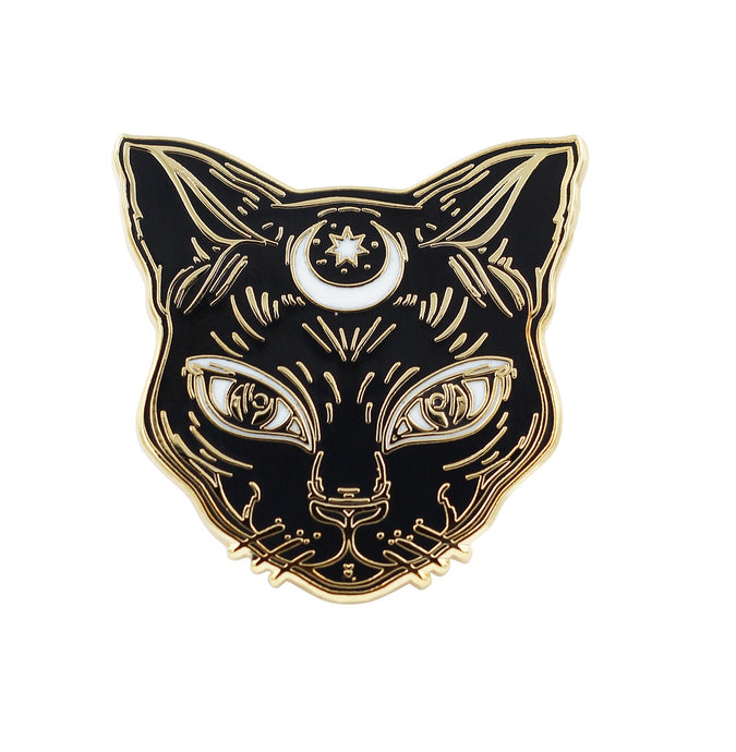 Luna the Black Cat  Enamel Cat Pin by Real Sic