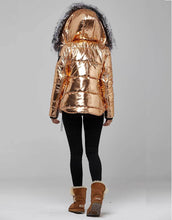 Load image into Gallery viewer, Copper Fur Trimmed Metallic Parka For Women