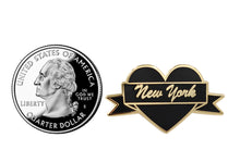 Load image into Gallery viewer, New York Heart Black & Gold City Pin