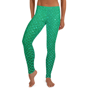 Mermaid Green Ombre  leggings, Capris and Shorts
