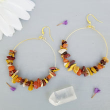 Load image into Gallery viewer, Autumn Stone Hoop Earrings