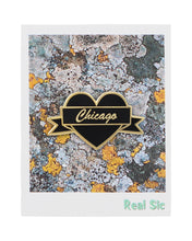 Load image into Gallery viewer, I Heart Chicago – Black & Gold City Enamel Pin