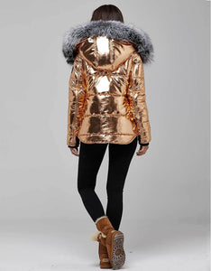 Copper Fur Trimmed Metallic Parka For Women
