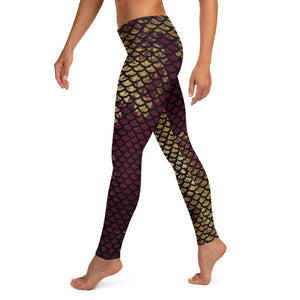 Distressed Mermaid Leggings black and gold