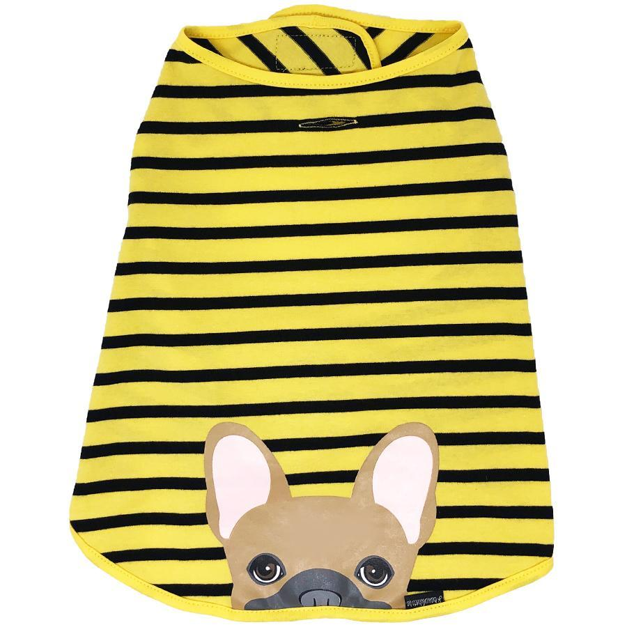 Striped Frenchie Shirt  Tan French Bulldog in Yellow