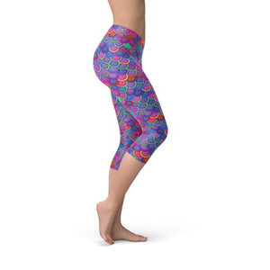 Womens Purple Pink Mermaid Capri Leggings