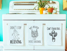 Load image into Gallery viewer, Dish Towel Gift Set of 3 ~ Moon, Mermaid, Unicorn ~ White