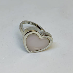 Silver Mother Of Pearl Heart Ring
