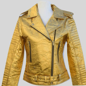 Luxe Outerwear Biker Jacket Gold Ellie