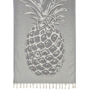 Gray Pineapple Turkish Beach Towel