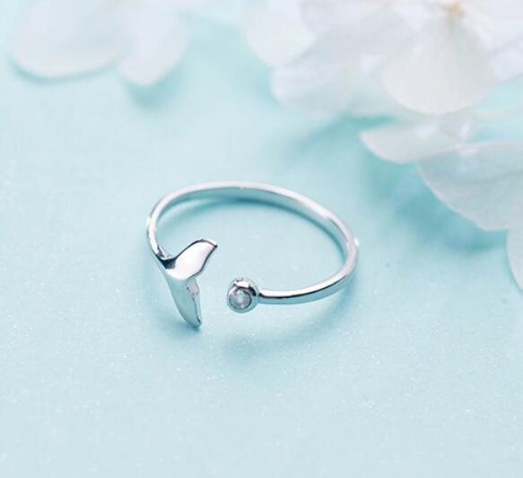 925 Sterling Silver Crystal Mermaid Tail Delicate Ring