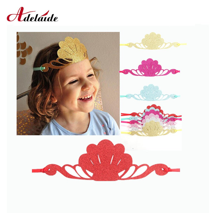 6 piece Girls Glitter Mermaid Headband Shiny Shell Satin Hairband For Kids Birthday Party Princess Tiaras Hair Accessories